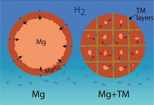 Распределение водорода в частицах магния