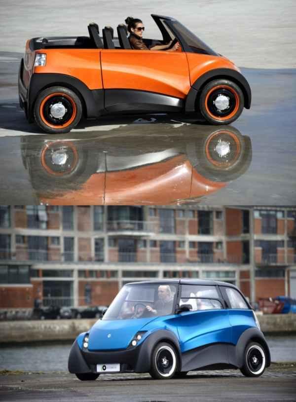 Городской электромобиль QBEAK: широкий салон, руль по центру, малый клиренс