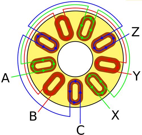Схема соединения катушек статора