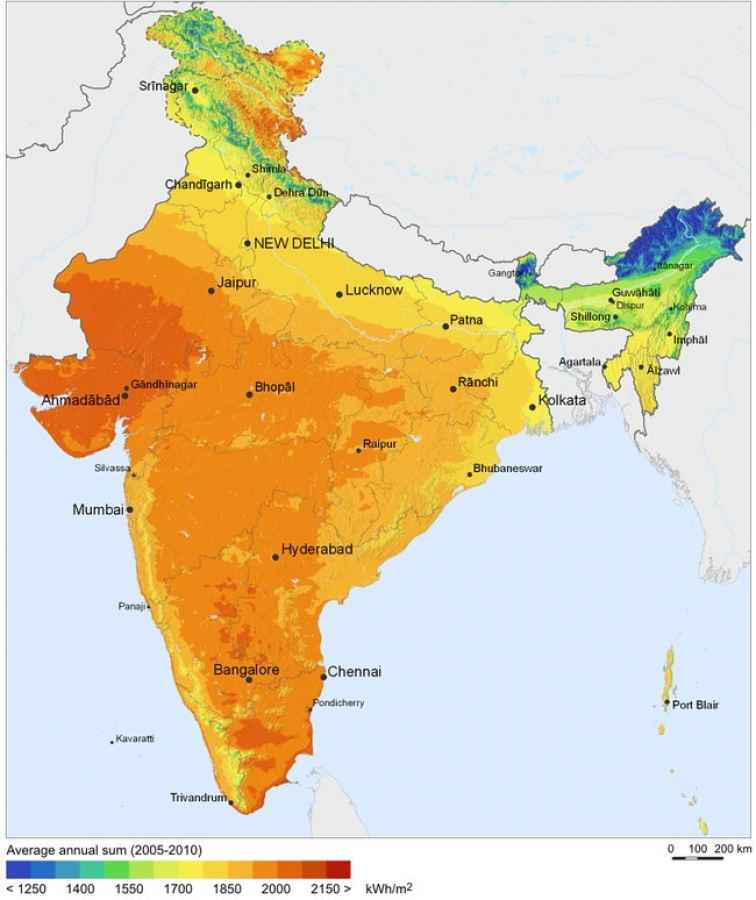 Солнечные ресурсы Индии